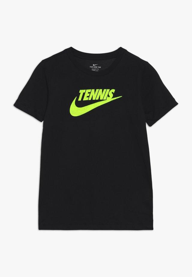 TEE TENNIS - Camiseta estampada - black/volt