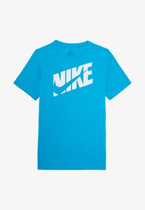 T-shirt print - laser blue/white