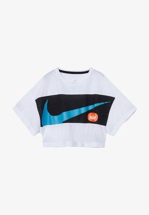 T-Shirt print - white/black/laser blue