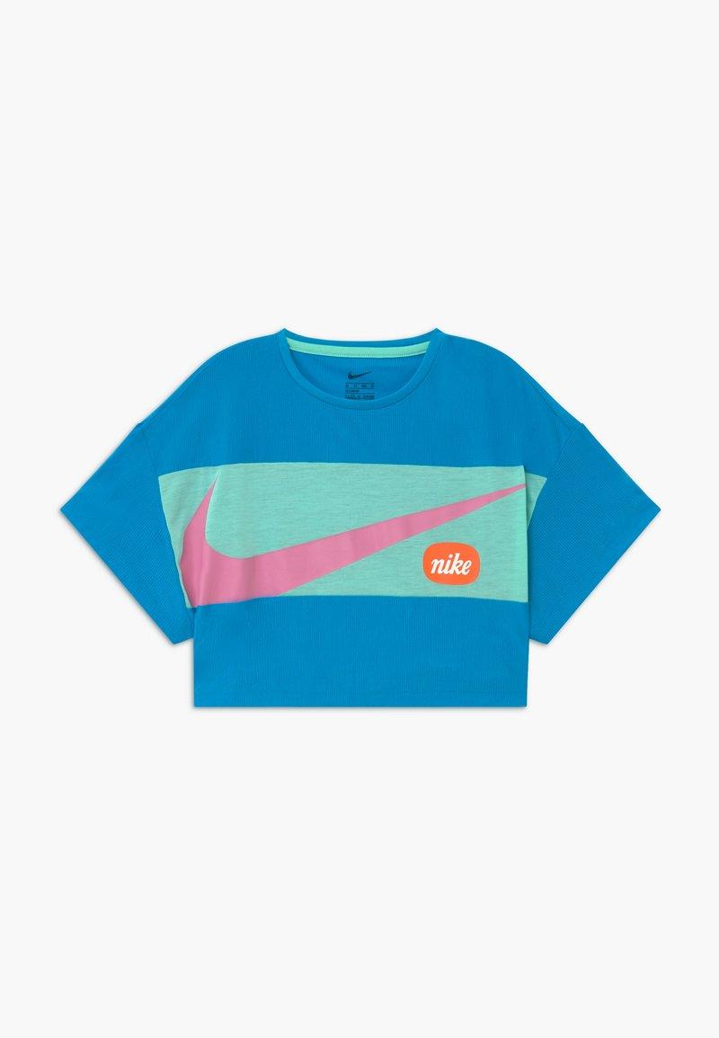 Nike Performance - Print T-shirt - laser blue/emerald rise/magic flamingo