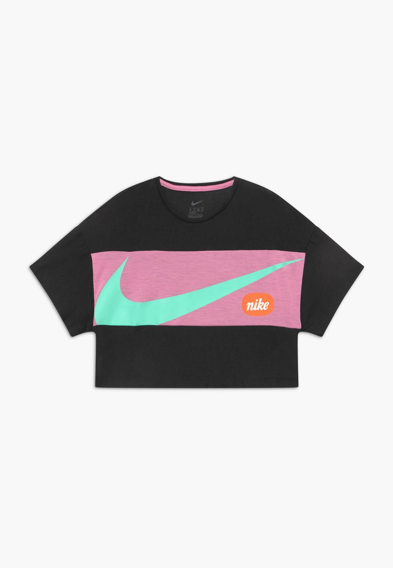Nike Performance - Print T-shirt - black/magic flamingo/emerald rise
