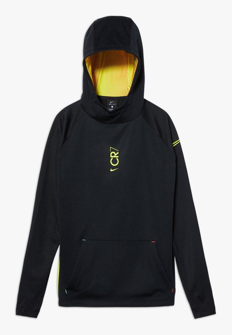 Nike Performance - CR7 DRY MIDLAYER - Sweat à capuche - black/lemon