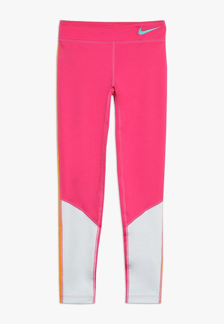 Nike Performance - TROPHY COLORBLOCK - Tights - vivid pink/pure platinum/orange peel/cabana