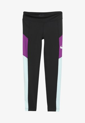 TROPHY - Legginsy - black/teal tint/vivid purple/white
