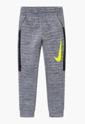 THERMA - Tracksuit bottoms - smoke grey/black/lemon