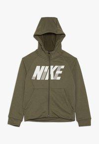Nike Performance - DRY HOODIE - Zip-up hoodie - medium olive/white - 0