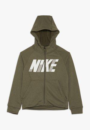 DRY HOODIE - Zip-up hoodie - medium olive/white