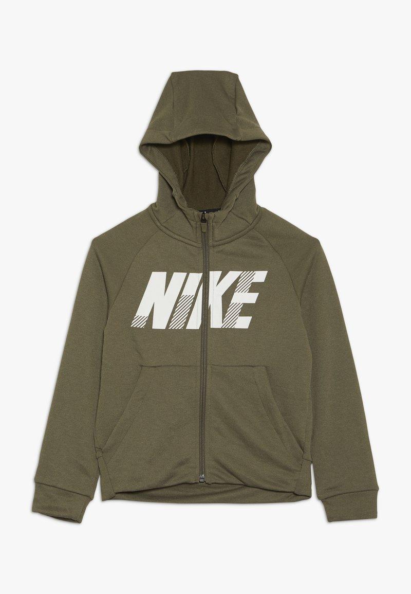Nike Performance - DRY HOODIE - Zip-up hoodie - medium olive/white