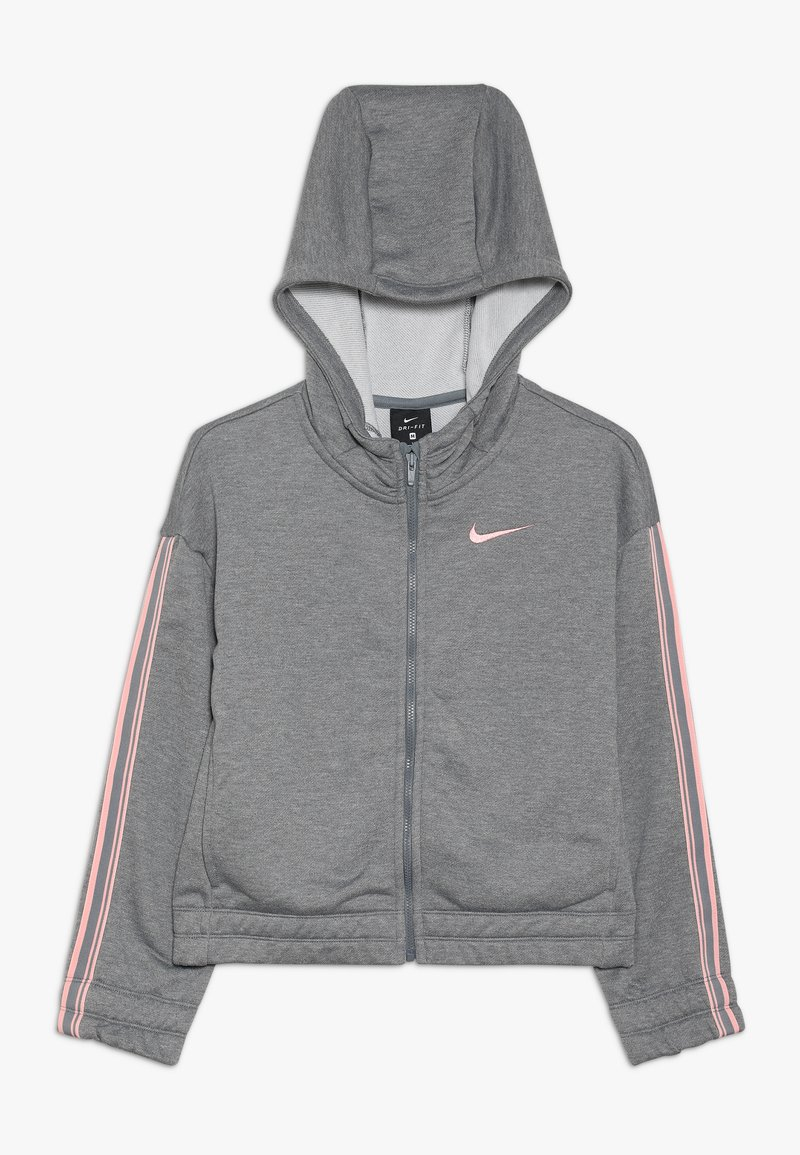 Nike Performance - HOODIE STUDIO - Zip-up hoodie - carbon heather/bleached coral
