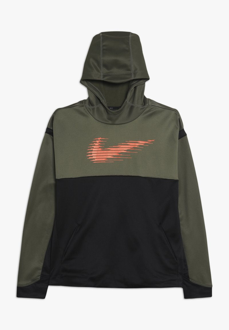 Nike Performance - THERMA HOODIE - Hoodie - medium olive/black/total orange
