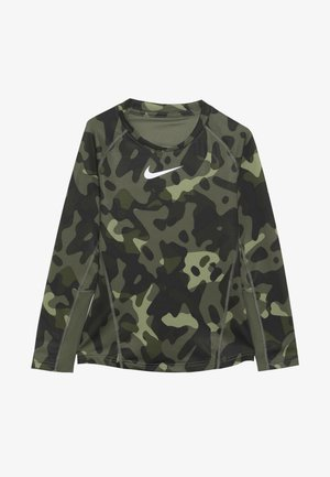 THERMA CREW - Sportshirt - medium olive/white