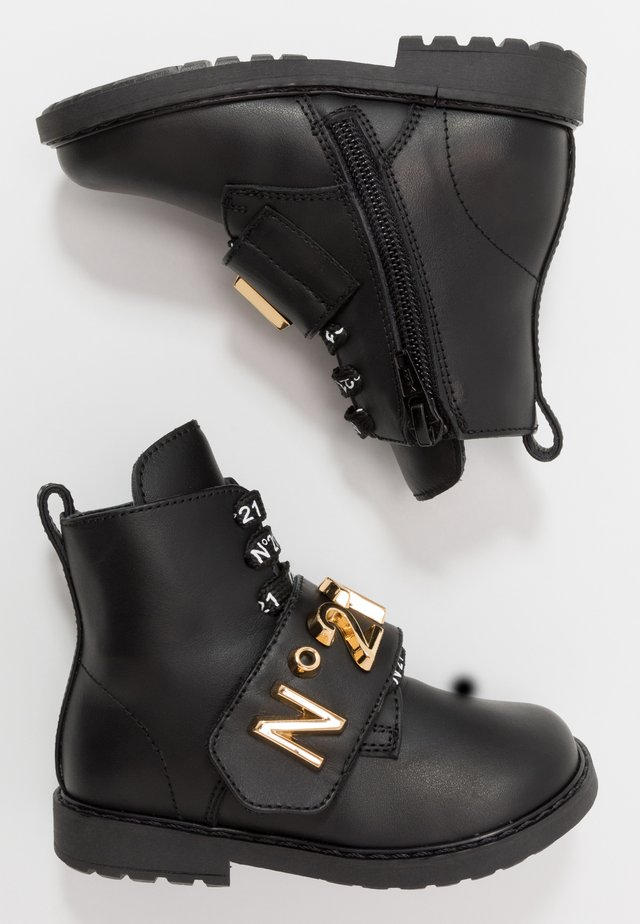 Lace-up boots - black/gold