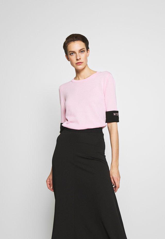 ROUND NECK CUFF TEE - T-shirt basic - pale pink