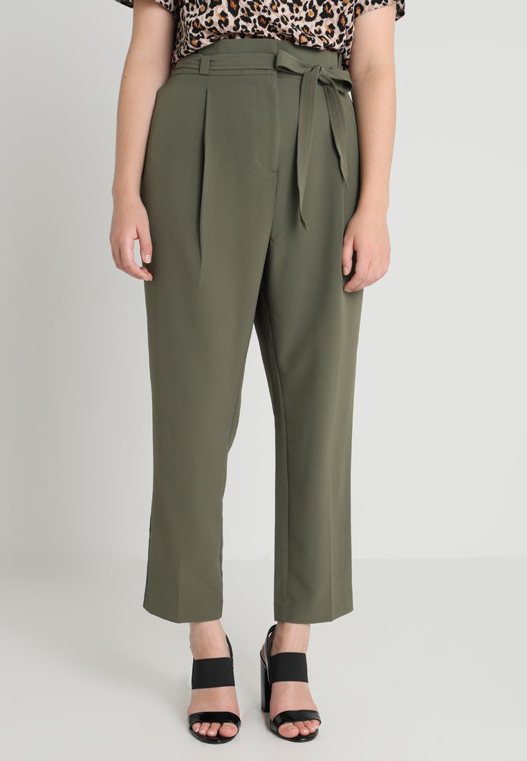 New Look Curves - MILLER PAPER BAG TROUSER - Pantaloni - khaki