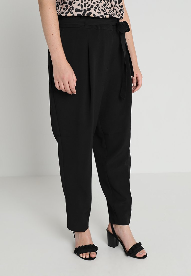 New Look Curves - MILLER PAPER BAG TROUSER - Bukser - black