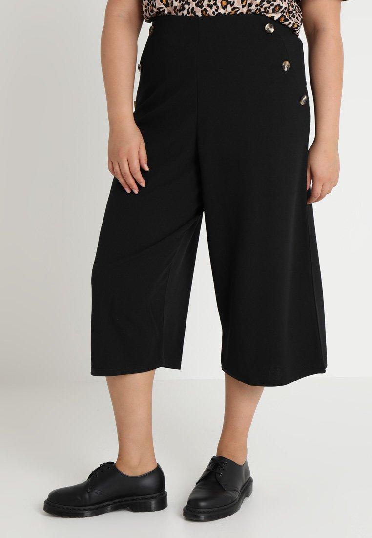 New Look Curves - PLAIN SIDE BUTTON CULOTTE - Trousers - black