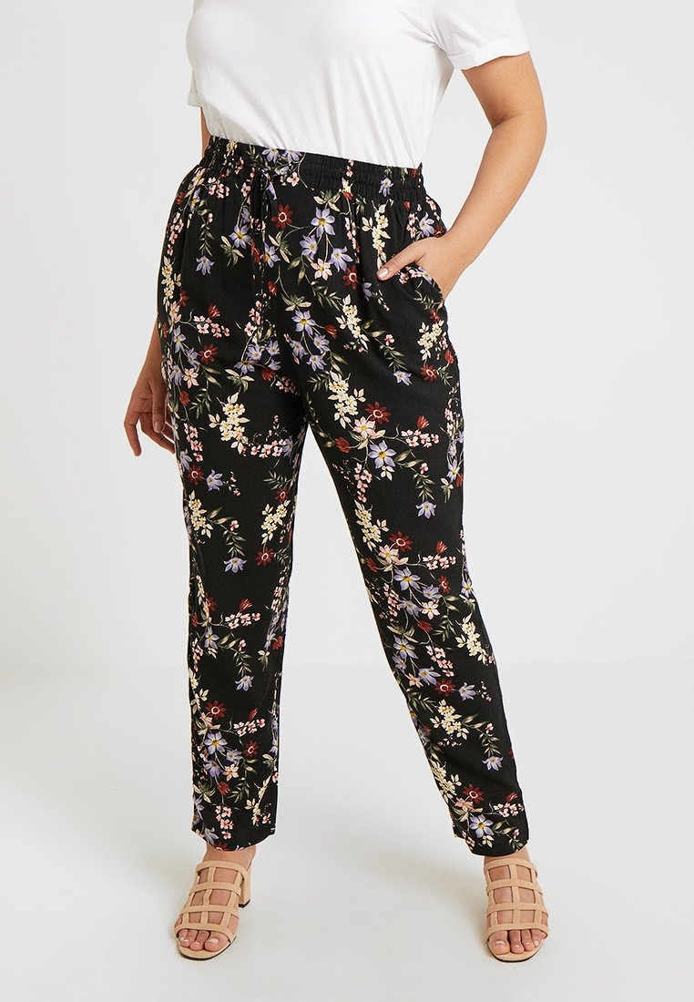 New Look Curves - SIMONE FLORAL - Stoffhose - black