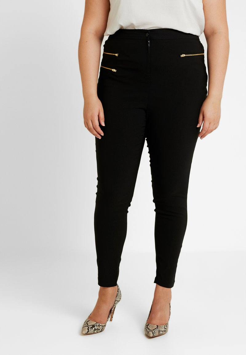 New Look Curves - THREE ZIP BENGALINE TROUSER - Pantalones - black