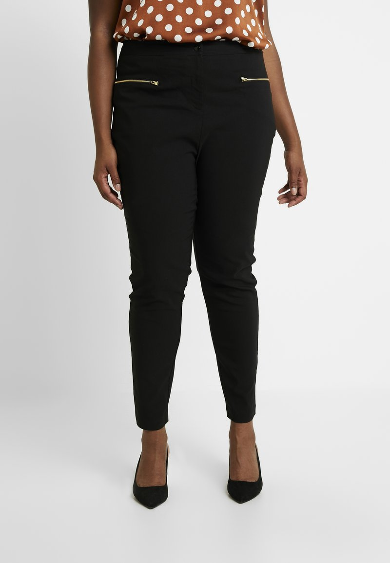 New Look Curves - TWO ZIP BENGALINE TROUSER - Kalhoty - black