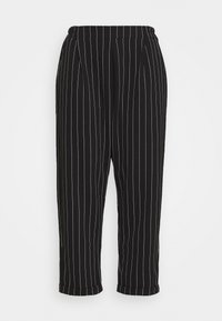 New Look Curves - PINSTRIPE TROUSER - Trousers - black - 0