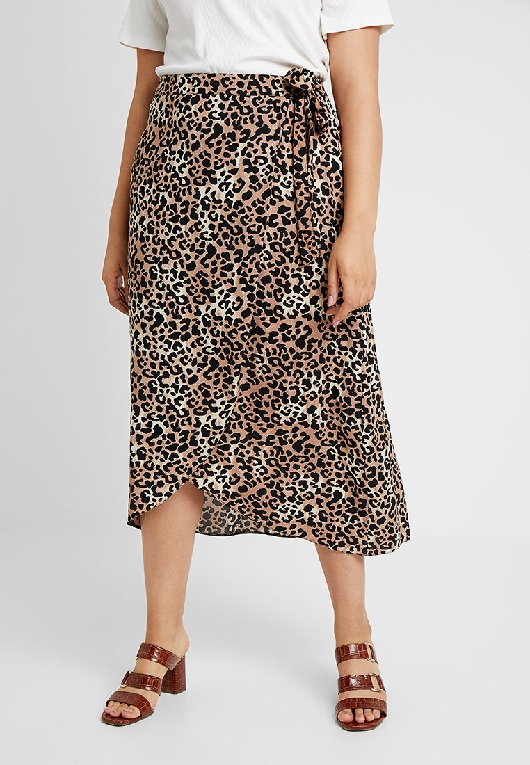 New Look Curves - BLOCK SKIRTS - Wickelrock - brown