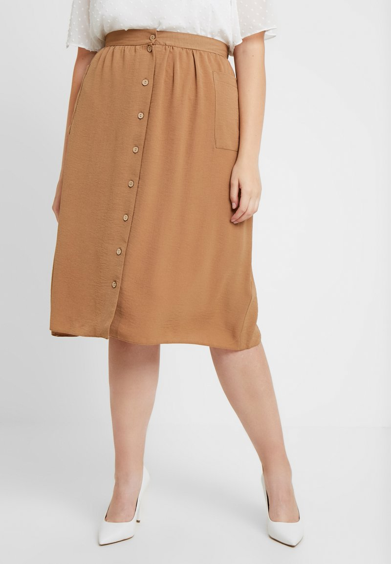New Look Curves - JANE MIDI SKIRT - A-Linien-Rock - camel