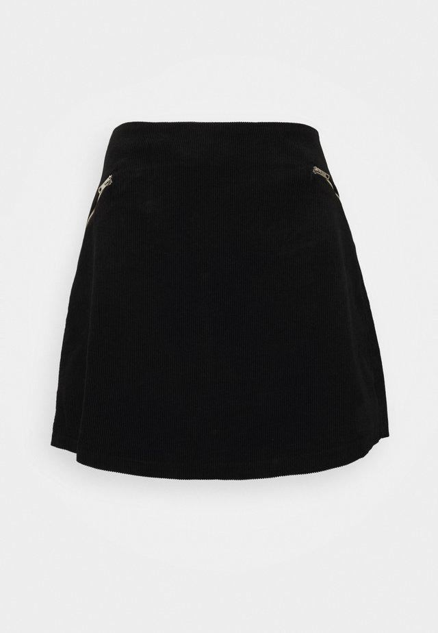 ZIP SKIRT - Miniskjørt - black