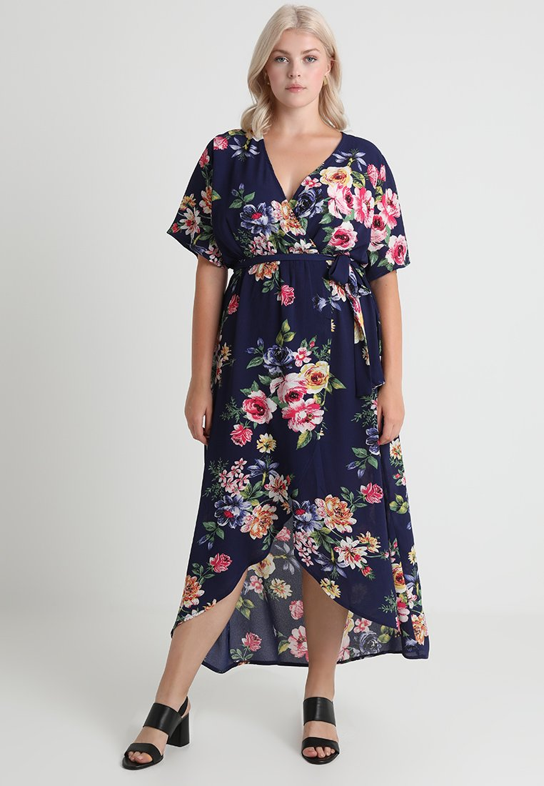 New Look Curves - PRINTED HI LOW HEM DRESS  - Maxikleid - blue