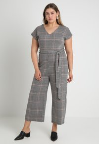New Look Curves - FRANK CHECK SELF BELTED - Overal - black - 1