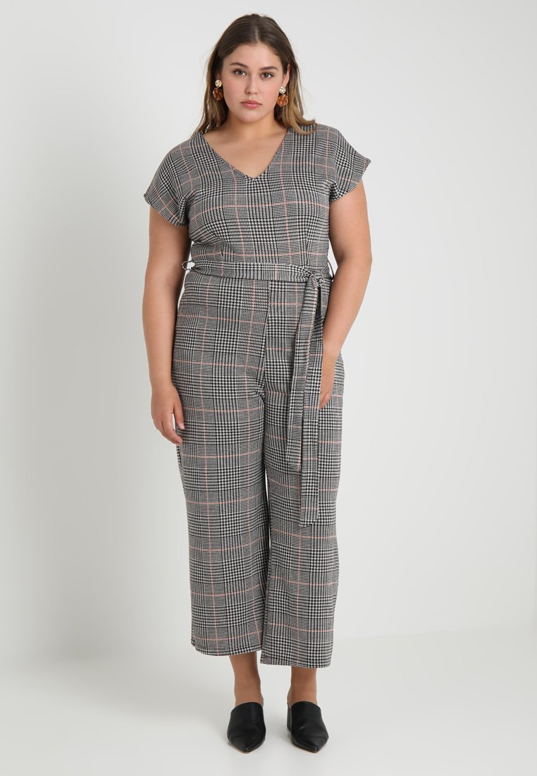 New Look Curves - FRANK CHECK SELF BELTED - Overal - black
