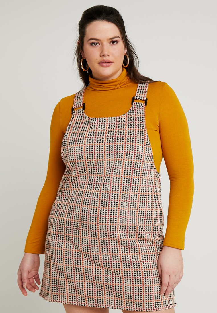 New Look Curves - MULTI DOGTOOTH CHECK PINNY - Vardagsklänning - brown