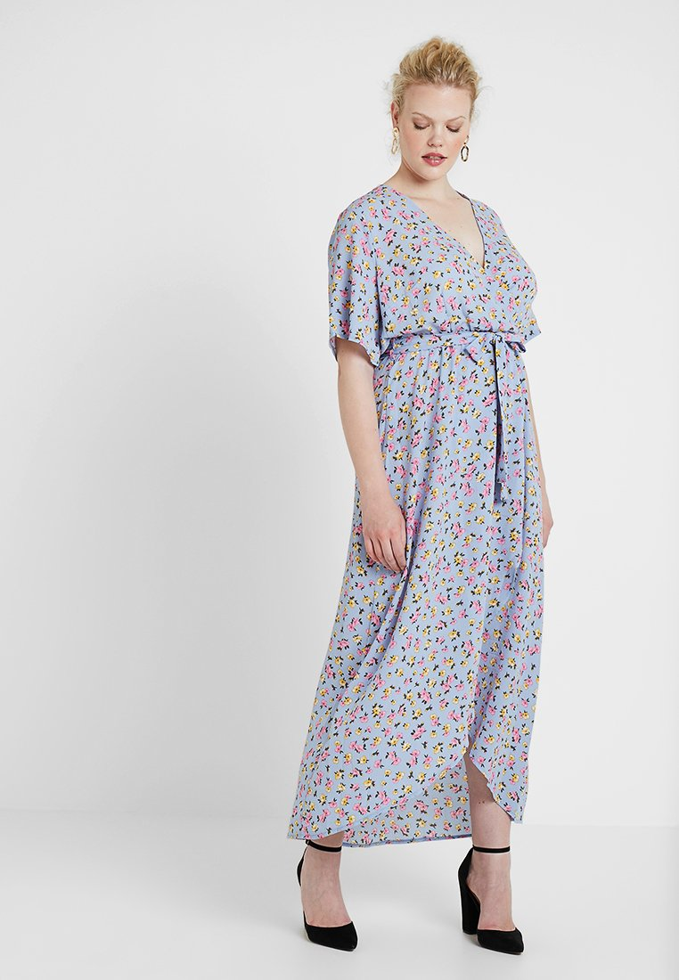 New Look Curves - GO HI LOW RENATA PRINT DRESS - Vestito lungo - blue