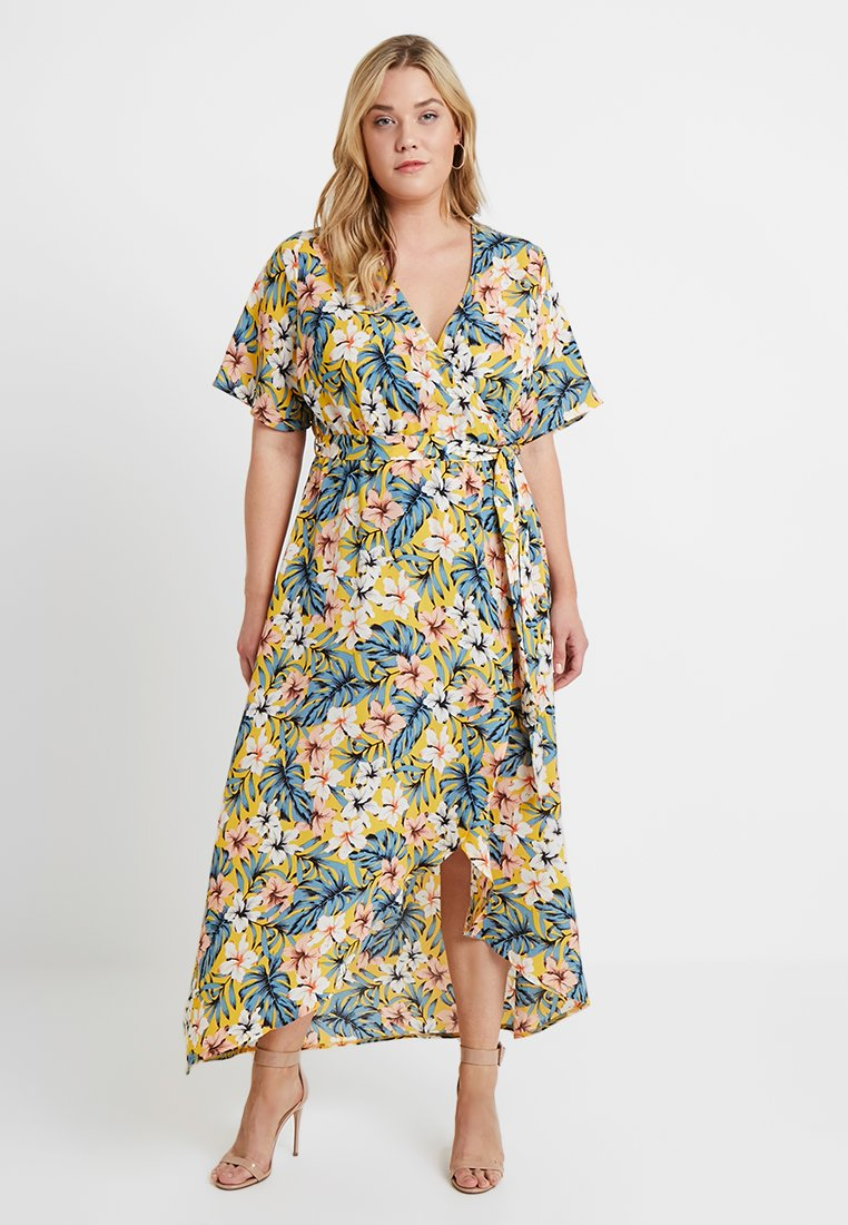 New Look Curves - LAURIE TROPICAL HIGH LOW - Maxikleid - yellow