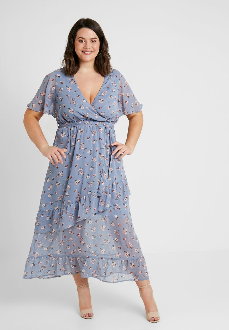 New Look Curves - GO CONSTANCE FLORAL RUFFLE DRESS - Maxikleid - blue