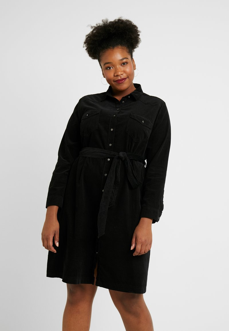New Look Curves - BELTED DRESS - Shirt dress - black