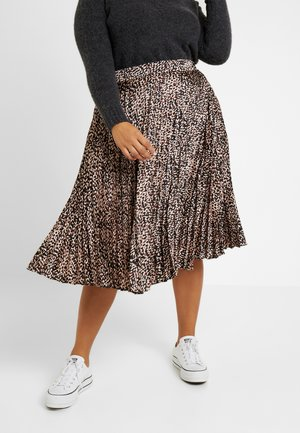 GO MARK ANIMAL PLEAT MIDI SKIRT - A-linjainen hame - brown
