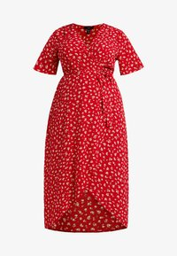 New Look Curves - NELLE FLORAL HIGH LOW - Vestito lungo - red - 5