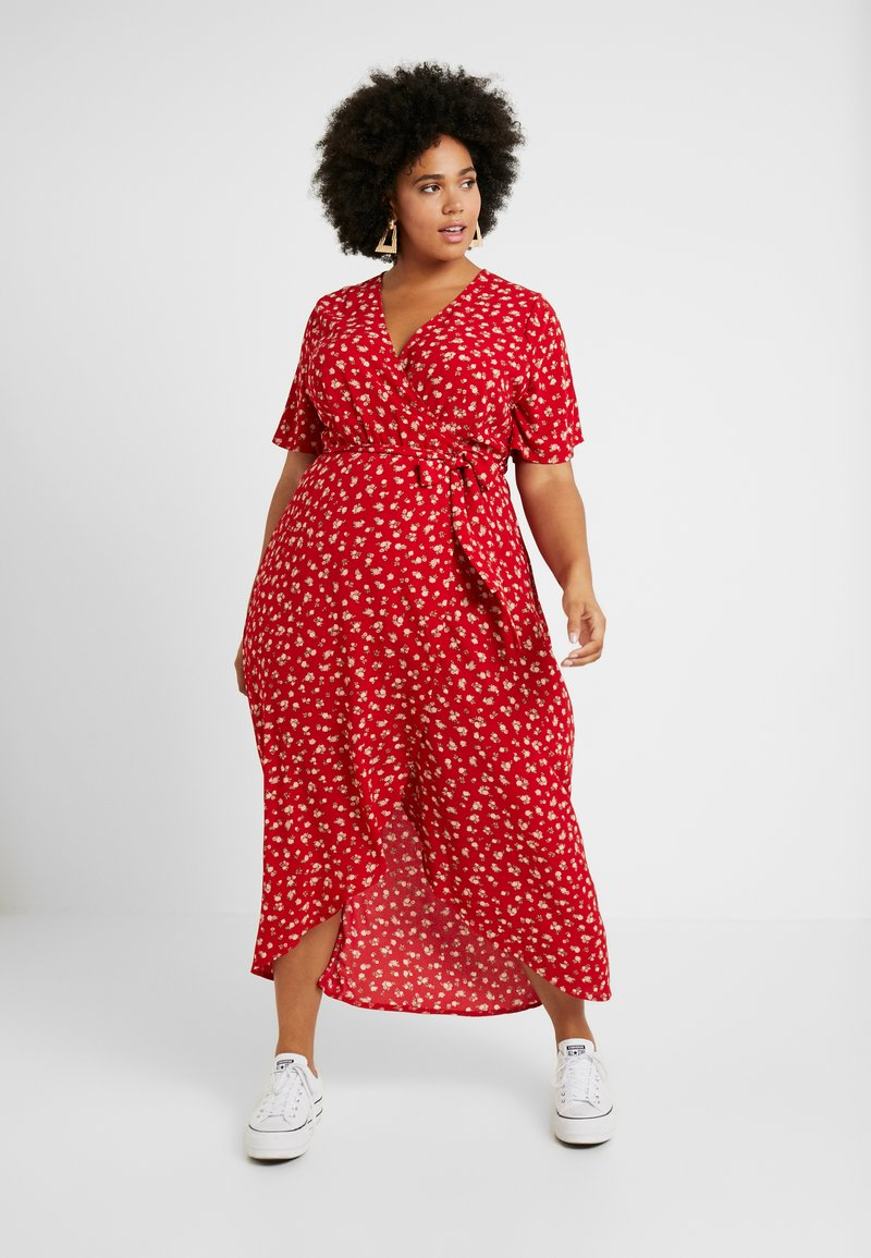 New Look Curves - NELLE FLORAL HIGH LOW - Maxi dress - red