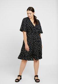 New Look Curves - SHARON SPOT TIERED DRESS - Day dress - black pattern - 0