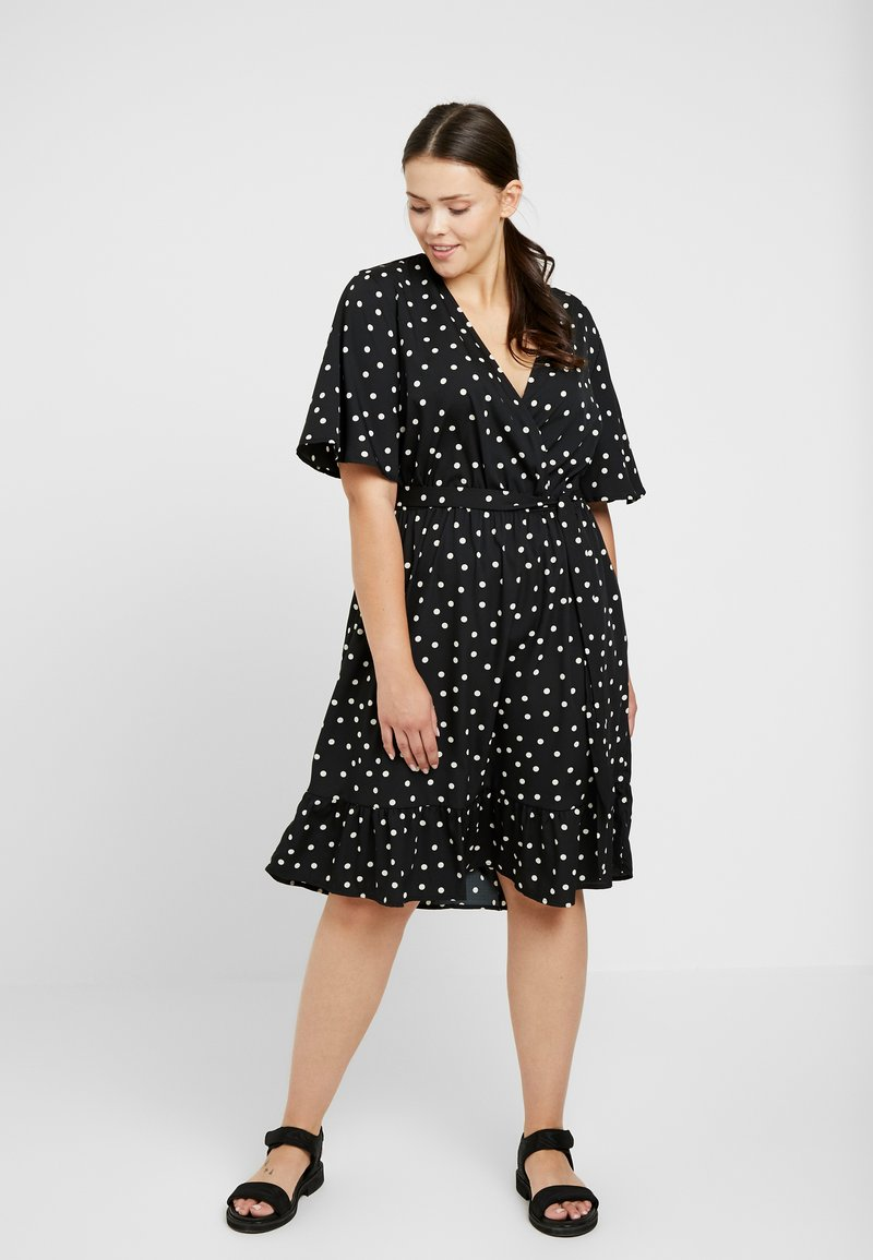 New Look Curves - SHARON SPOT TIERED DRESS - Day dress - black pattern