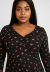 New Look Curves - SOFT TOUCH RUCHED FRONT MINI - Jerseykjole - black