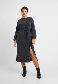 New Look Curves - METALLIC YARN DRESS - Jerseykjole - silver - 0