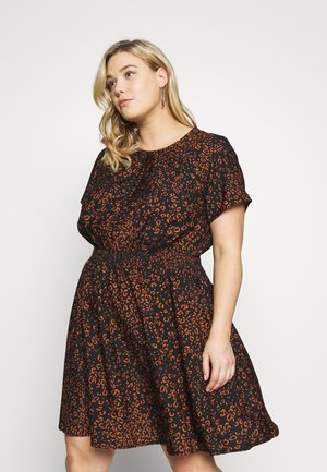 LULU LEOPARD DRESS - Sukienka letnia - black