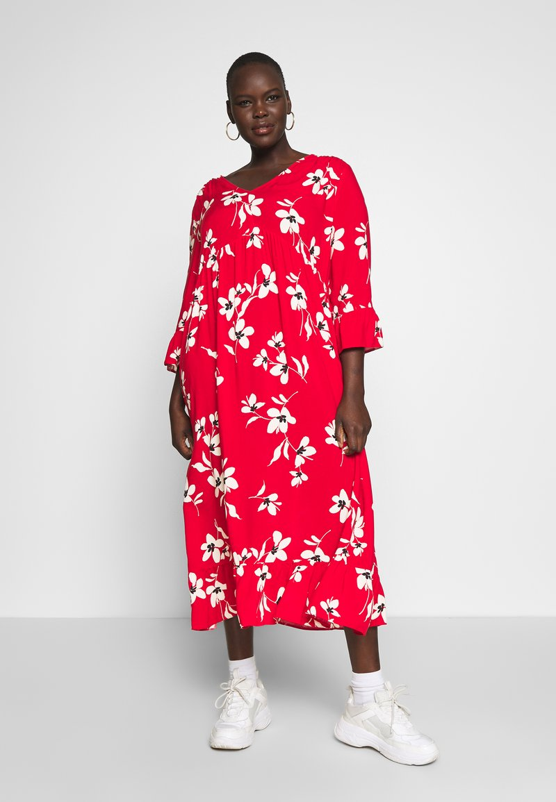 New Look Curves - X ULLA TIERED FRILL MAXI - Robe longue - red