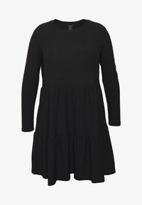 New Look Curves - CRINKLE SMOCK MINI - Jersey dress - black - 4