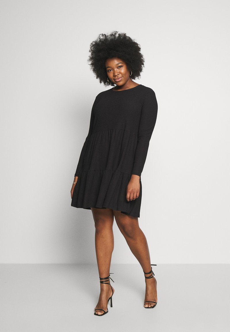 New Look Curves - CRINKLE SMOCK MINI - Jersey dress - black