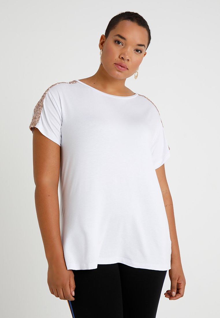 New Look Curves - GLITTER OVERARM TEE - Print T-shirt - white