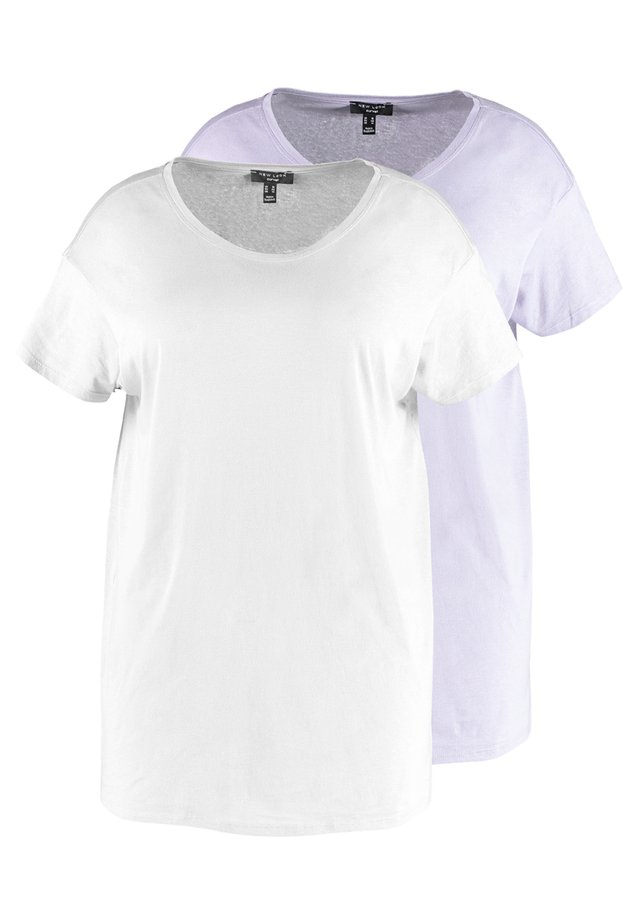 2 PACK FOR BOYFRIEND TEE 2 PACK - Basic T-shirt - purple/white