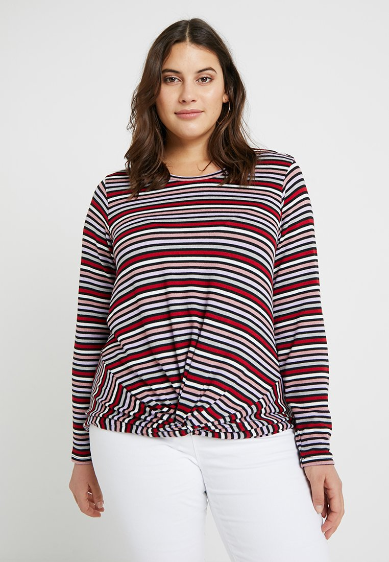 New Look Curves - TWIST FRONT STRIPE - Strickpullover - black pattern