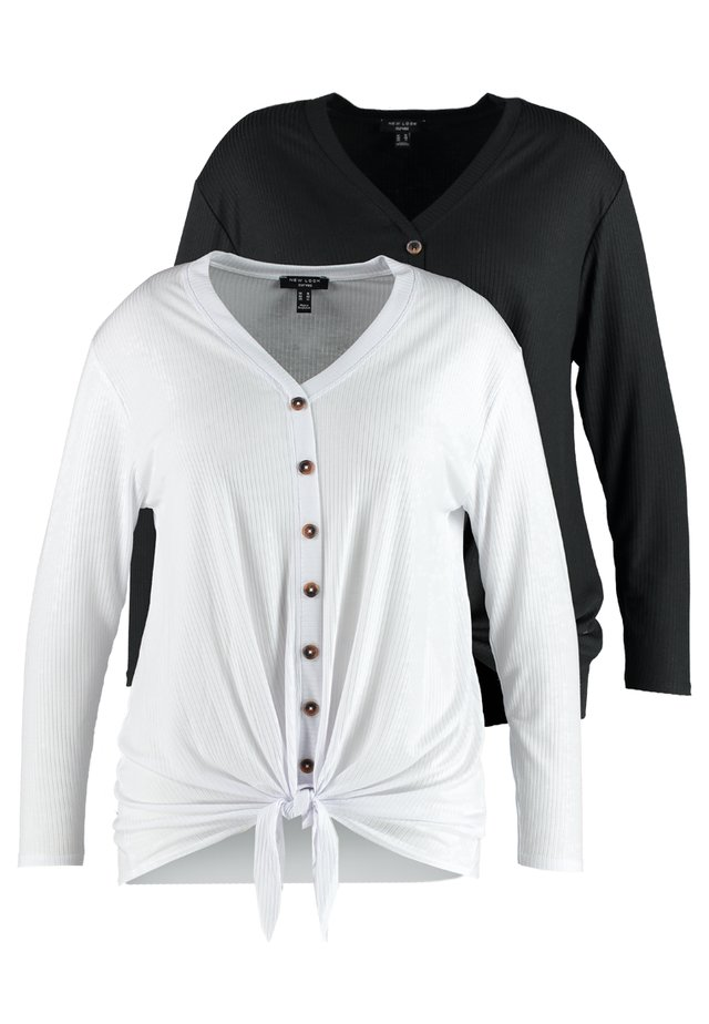 2 PACK BUTTON THROUGH TIE FRONT  - Long sleeved top - black/white